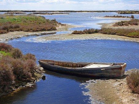 Barca, Abandoned, Marshes, Ebro Delta, Scene Seafaring