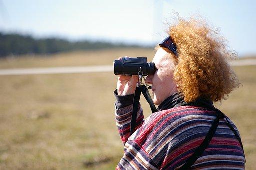 Woman, Redhead, Binoculars, Hair, Older, Leisure