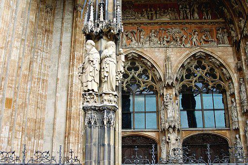 Architecture, Gothic, Portal, Figures, Window, Ulm