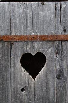Heart, Wood, Klo Cottage, Heart In The Wood, Board