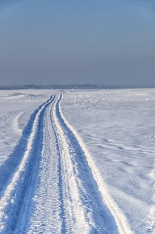 Snow, Road, Snowmobile, Sun, Winter, Winter Road, Frost