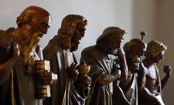 Sculpture, The Apostles, Wooden, Brown, Characters