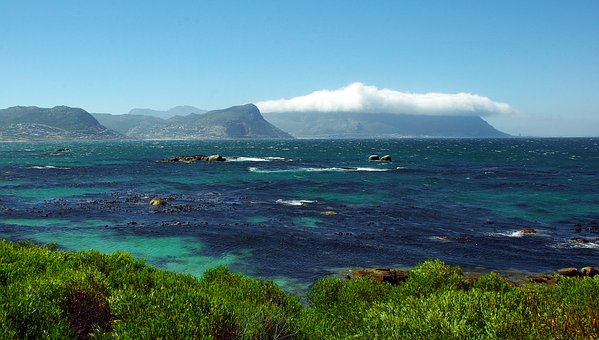 The Cap, Shore, Mountain, Table, Clouds, Indian Ocean