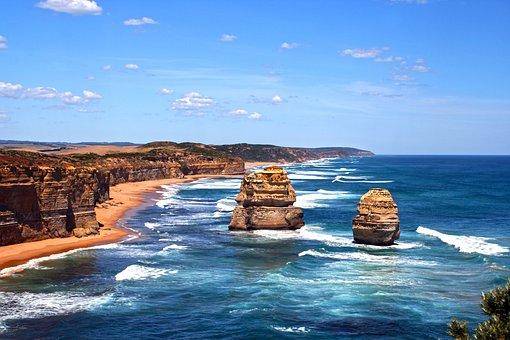 Australia, Coast, 12 Apostles, Rock, Ocean, Water