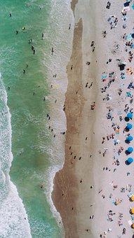 Beach, Aeriel, Aerial, Drove, Waves, Surf, Tide