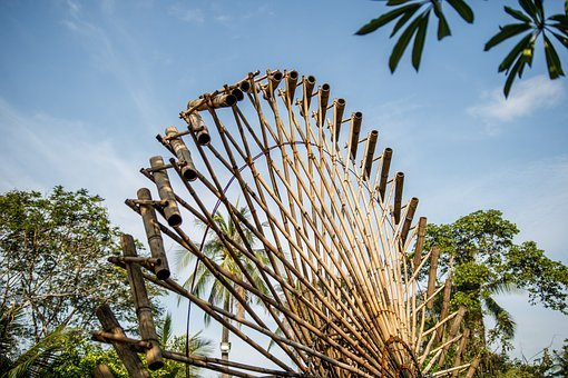 Bamboo, Water Wheel, Natural, Stream, Energy