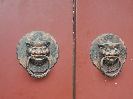 Door, China, Chinese, Architecture, Gate, Knocker
