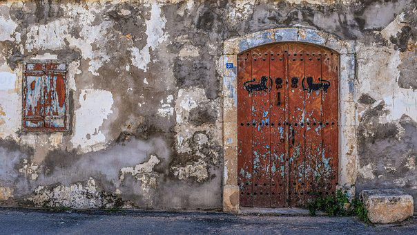 Old House, Exterior, Door, Window, Architecture, Wall