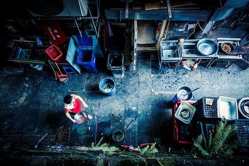 Aerial, Aeriel, Street, Vendor, Food, Market, Travel