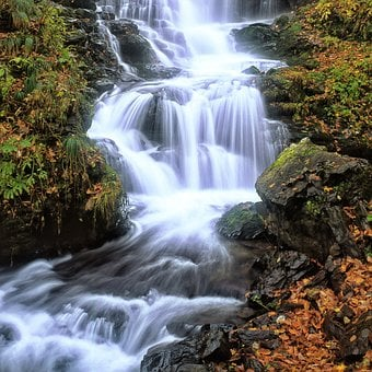 A Small Waterfall, Fallen Leaves, Late Autumn