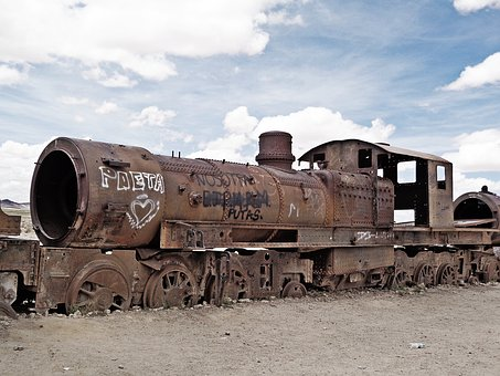 The Salar De Uyuni, Cemetery Of Trains, Bolivia, Uyuni