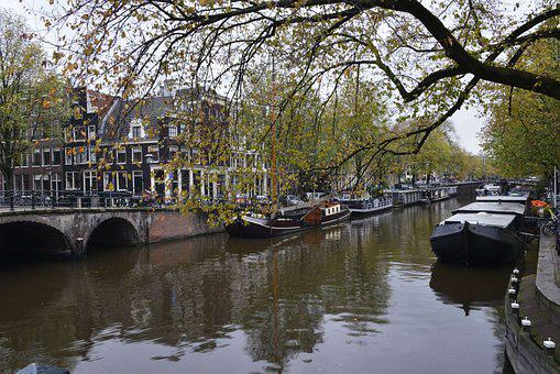Amsterdam, Channel, Barges, Holland