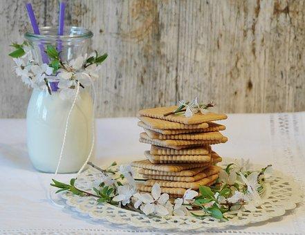 Cookies, Butter Biscuits, Glass, Milk, Glass Of Milk