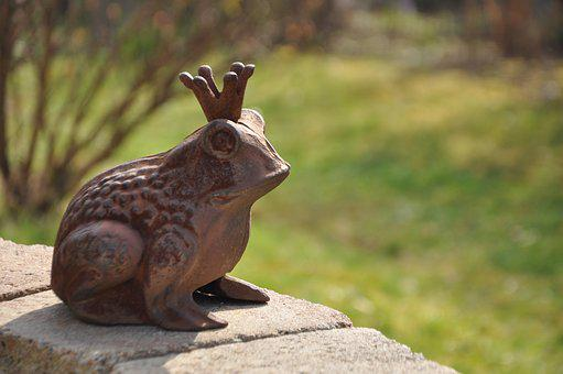 Frog Prince, Garden, Wall, Metal, Deco, Crown, Out