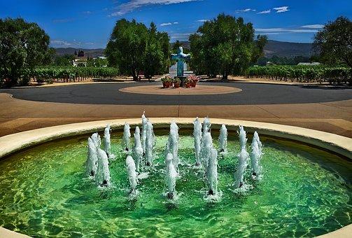 Fountain, Landscape, Garden, Vineyard