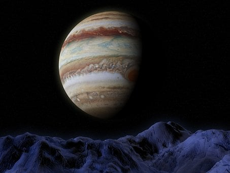 Jupiter, Ganymede, Space, Astronomy, Science, Moon