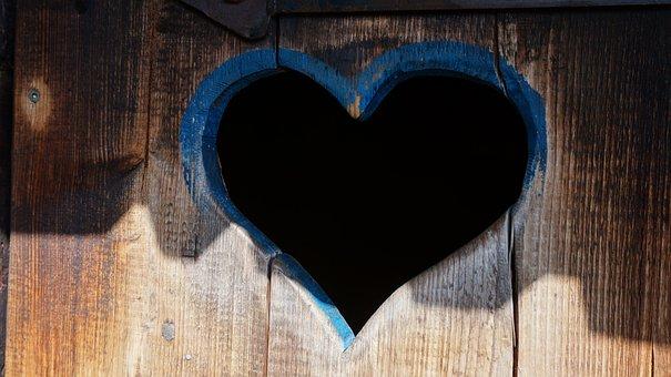 Heart, Toilet Door, Wooden Door, Wood