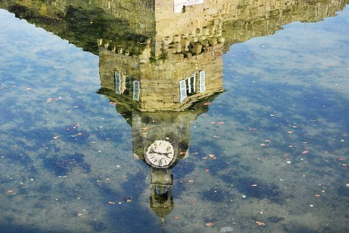 Belfry, Time, Clock, Reflections, Water, City, Urban