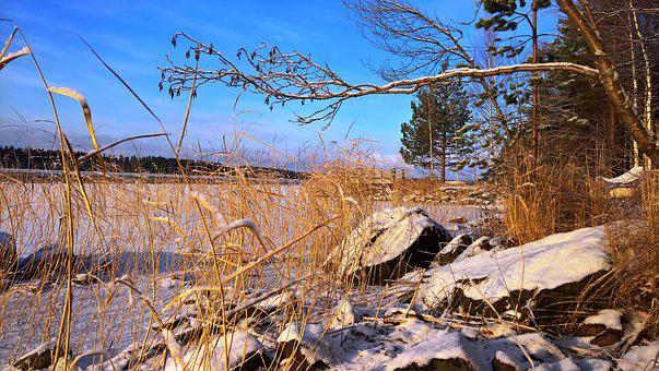 Beach, Winter, Finnish, Landscape, Beach Cottage