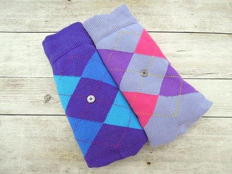 Socks, Fashion, Dress, Color, Motley, Checked, Blue