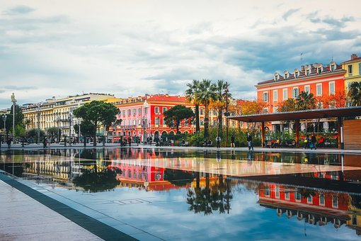 Nice, France, Pool, Water, Reflections, Canal, City