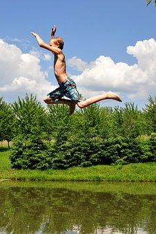 Summer, Swim, Pond, Landscape, Austria, Leisure
