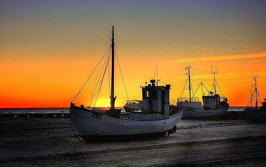 Cutter, Sun, Water, Boot, Port, Ship, Sky, Landscape