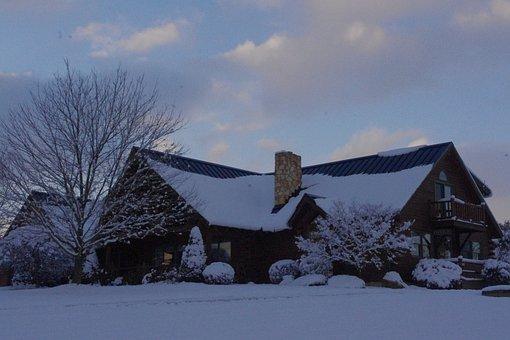 Cabin, Snow, Winter, Rustic, Cold