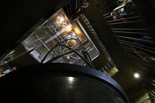 Prague, The Clock Tower, Stairs, Elevator, Travel
