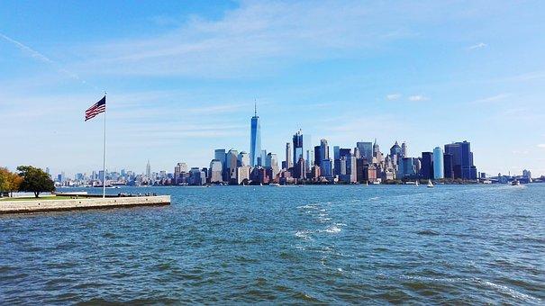 New York, New, York, Manhattan, Usa, Statue, View