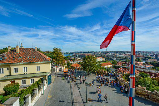 Prague, Castle, Czech, Flag, View, River, Travel