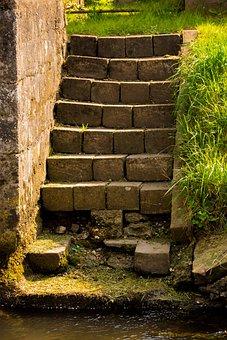 Stairs, Stone Stairway, Broken, Bach, Water, Garden