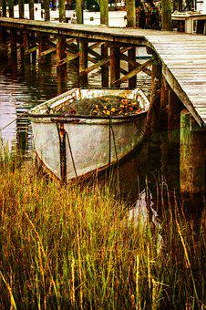 Color, Skiff, Water, Antique Image, Pier, Docks