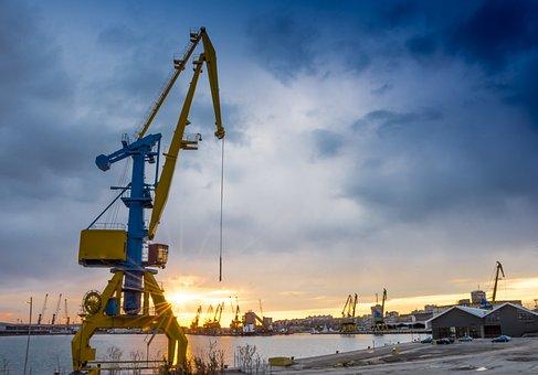 Crane, Port, Sunset, Transport, Cargo, Industry