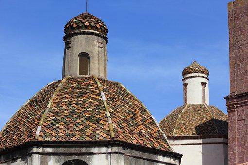 Italy, Sardinia, Bosa, Downtown, Church, Dome, Tiles