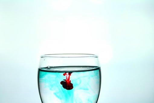 Water, Ink, Drop, Blue, Glass, Glass Wine