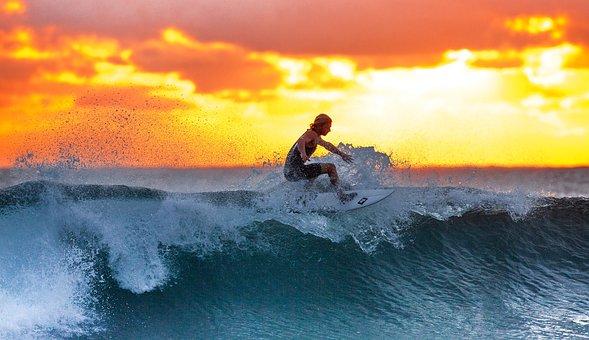 Surfer, Wave, Sunset, The Indian Ocean