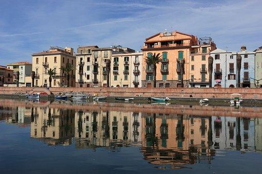 Italy, Sardinia, Bosa, River, Reflections, Water