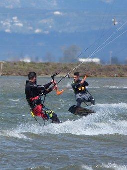 Sky Surf, Extreme Sport, Beach, Sea, Wind, Ebro Delta