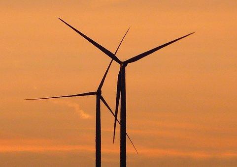 Windräder, Sunset, Wind Energy, Wind Power, Evening Sky