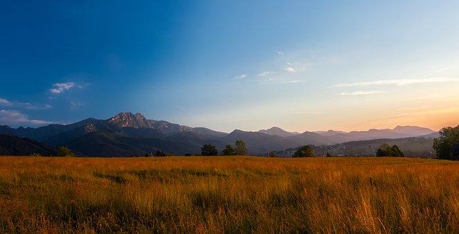 Landscape, Sky, Clouds, Sunset, Dusk, Meadow, Field