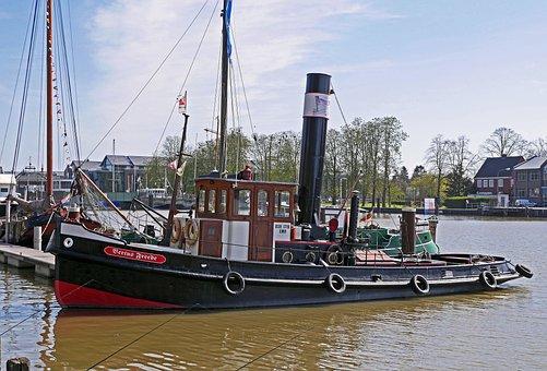 Bugsier Steamer, Tug, Port, Empty, East Frisia