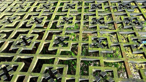 Iron Gate, Wrought Iron, Weathered, Grid, Fence