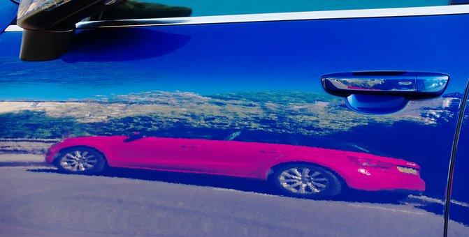 Automobile, Car, Reflection, Door, Handle, Paint