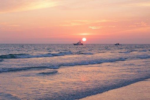 Sunset, Pink Sunset, Ocean, Seaside, Pink, Sky, Nature