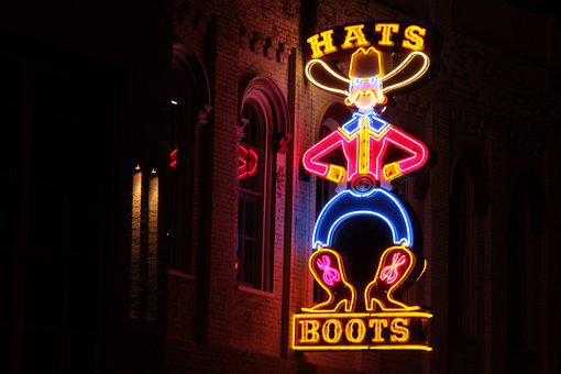 Hats, Boots, Nashville, Tennessee, Neon Sign