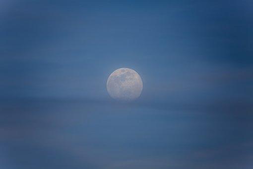 Moon, Moon Rise, Sky, Night, Light, Moonlight, Blue
