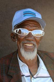 Botswana, Old Man, Portrait, Mirroring, Human