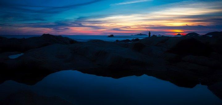France, Sea, Ocean, Fishing, Silhouettes, Panorama