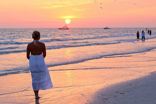 Pretty Girl, Sunset, Pink Sunset, Pink, Blue, Dress